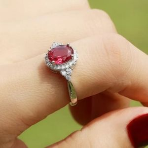 Ruby Red 925 sterling silver ring